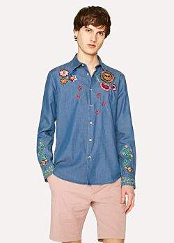 Paul Smith Men's Slim-Fit Chambray Shirt With Floral And 'Sun' Embroidery