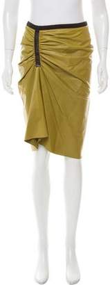 Reed Krakoff Ruched Leather Skirt