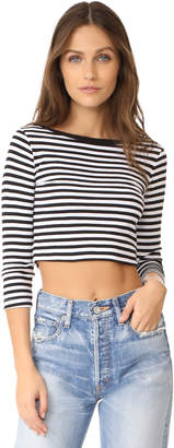 Three Dots 3/4 Sleeve Crop Top $55 thestylecure.com