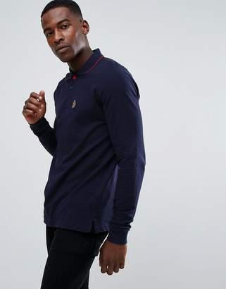 Luke Sport Longmead Tipped Collar Long Sleeve Polo Shirt in Dark Navy