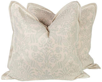 One Kings Lane Vintage Seafoam Green Linen Baroque Pillows