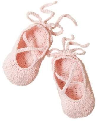 Elegant Baby Ballerina Bootie. Hand Crocheted. Pink.