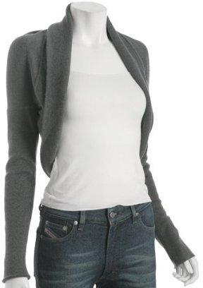 Norma Kamali grey wool cropped cocoon cardigan