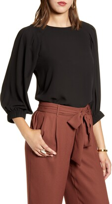 Halogen Pleated Sleeve Blouse