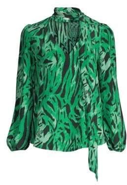 Rixo Moss Tiger Print Silk Blouse