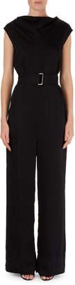 Victoria Beckham Belted Cap-Sleeve Crepe Jumpsuit