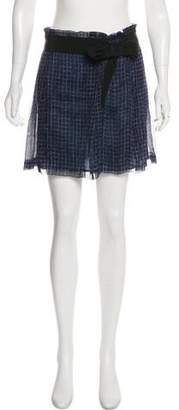 Alberta Ferretti Silk Plaid Mini Skirt