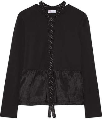 REDValentino - Pussy-bow Satin Jersey-paneled Cotton-jersey Peplum Top - Black $235 thestylecure.com