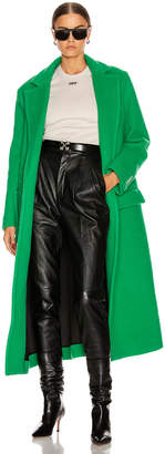 Off-White Off White Curly Two Layer Belt Coat in Green | FWRD