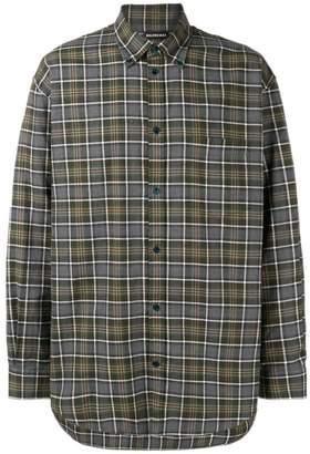 Balenciaga plaid button down shirt