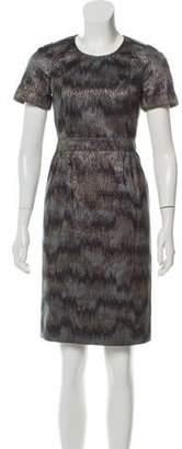 Burberry Metallic Short Sleeve Midi Dress