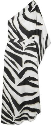 Melissa Odabash Lauren One-shoulder Zebra-print Charmeuse Kaftan - White