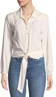 Paige Damaris Tie-Front Button-Down Top