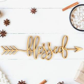 Woodums Blessed Arrow Wood Sign Wall Dcor