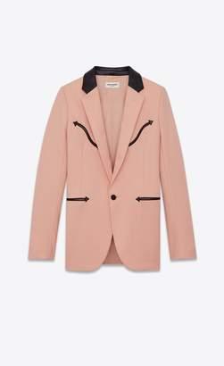 Saint Laurent Grain De Poudre Jacket With Western-Style Detailing And Leather Collar