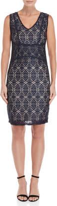 Apricot Concentric Lace Sheath Dress