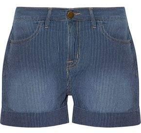 Current/Elliott The Rolled Boyfriend Striped Cotton Shorts