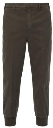 Neil Barrett Ribbed Cuff Cotton Blend Trousers - Mens - Khaki