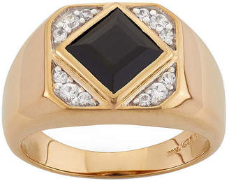 FINE JEWELRY Mens Onyx & Lab-Created White Sapphire 14K Gold Over Silver Ring