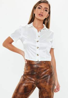 Missguided White Fitted Stretch Satin Shirt