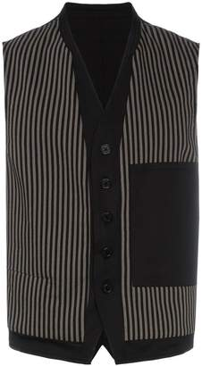 Ann Demeulemeester stripe pattern and button detail cotton-blend waistcoat
