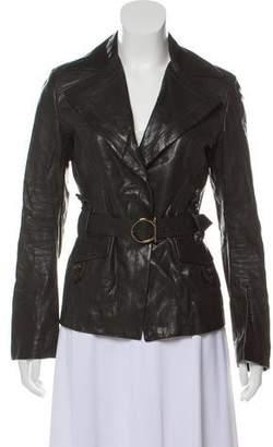 Salvatore Ferragamo Notch-Lapel Leather Jackets
