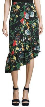 Tibi Gypsy Printed Silk Asymmetric Midi Skirt, Blamu $495 thestylecure.com