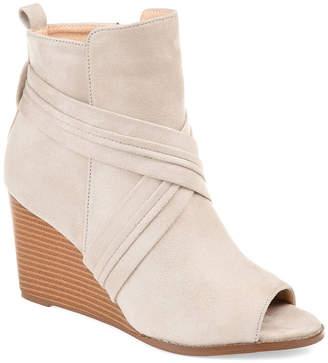 Journee Collection Womens Sabeena Booties Wedge Heel Zip