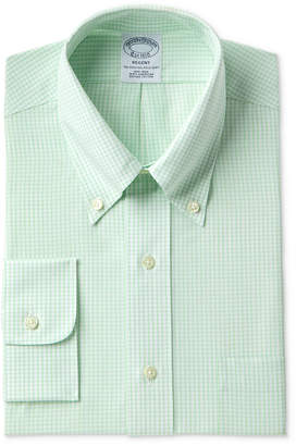 Brooks Brothers Men's Regent Slim-Fit Non-Iron Polo Button Down Green Windowpane Dress Shirt