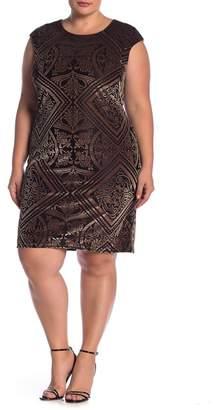 Vince Camuto Velvet Design Cap Sleeve Dress (Plus Size)