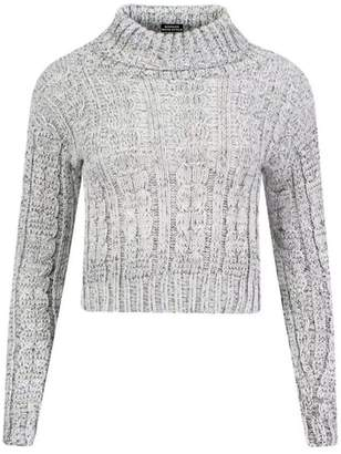 RIDDLED WITH STYLE Ladies New Knitted Polo Neck Chunky Knit Cable Jumper Womens Cropped Sweater Top#( Polo Turtle Neck Crop Jumper#US 6-8#Womens)