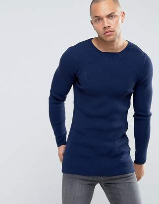 Asos Design Longline Muscle Fit Ribbed Jumper in Navy