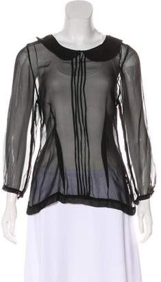 Hazel Brown Silk Scalloped Collar Long Sleeve Blouse