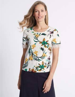 Marks and Spencer Floral Print Lace Hem Short Sleeve T-Shirt