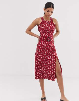 Fashion Union curved neckline midi dress with waist belt in floral