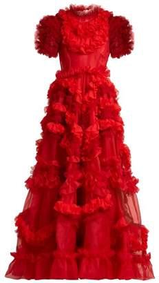 Dolce & Gabbana - Ruffle Trimmed Silk Blend Organza Gown - Womens - Red