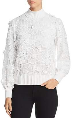 Badgley Mischka Floral Crochet Lace Top