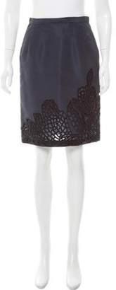 Oscar de la Renta Silk Knee-Length Skirt Navy Silk Knee-Length Skirt