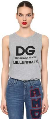 Dolce & Gabbana Logo Printed Cotton Jersey Tank Top