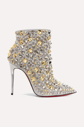 Christian Louboutin So Full Kate 100 Embellished Glittered Leather Ankle Boots - Silver