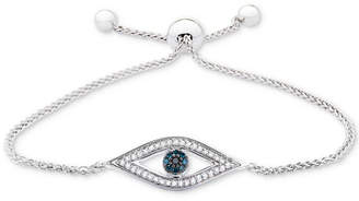 Wrapped Diamond Evil-Eye Bolo Bracelet (1/6 ct. t.w.) in Sterling Silver