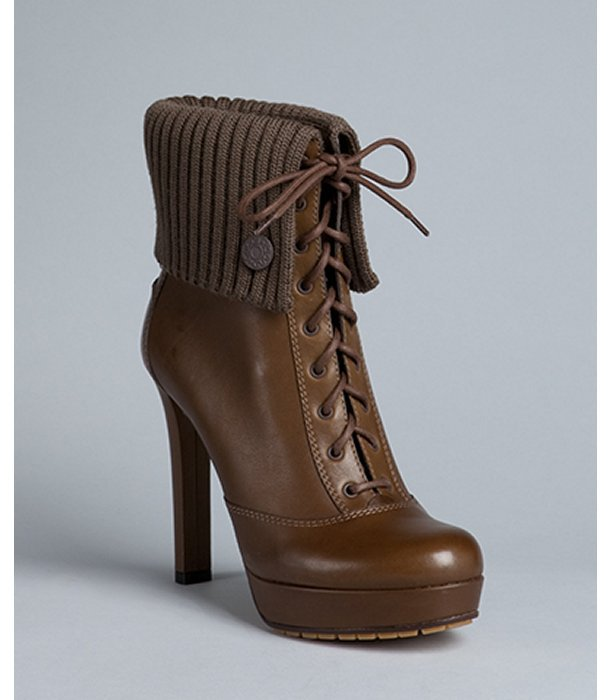 Gucci winter leaf brown leather rib knit trim 'Lara' platform booties