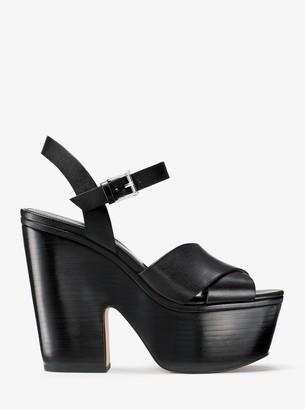 004685267133 MICHAEL Michael Kors Black Stacked Heel Women s Sandals - ShopStyle