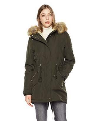 Royal Matrix Women's Mid-Length Detachable Faux Fur Winter Parka Jacket with Ribbing (