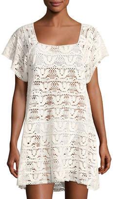 Nanette Lepore Square-Neck Crochet Mini Dress