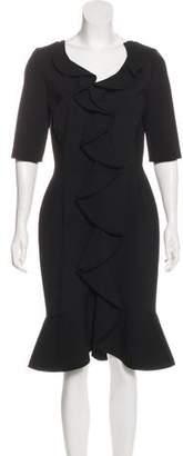 Oscar de la Renta Ruffled Virgin Wool Dress