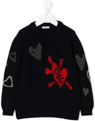 Dolce & Gabbana heart embroidered sweater