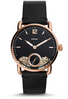 Fossil The Commuter Twist Black Leather Watch