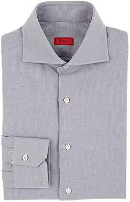 Isaia MEN'S BIRDSEYE COTTON DRESS SHIRT - GRAY PAT. SIZE 17 L