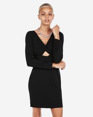 Express Long Sleeve Twist Front Sheath Dress